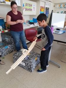 student building a project