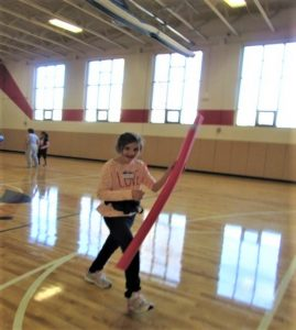 student at gym class
